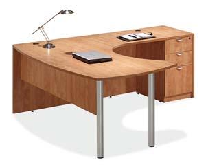 "Arc table ""L"" desl with full box/box/file pedestal."