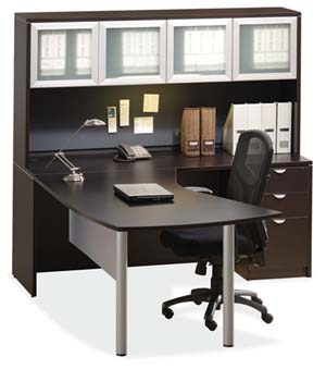 """Arc table """"L"""" desk and hutch with silver trimmed doors with frosted glass panels."""