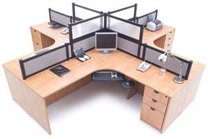 Quad computer corner workstation divided with Boarders panel system.