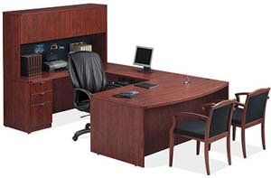 "Bow front executive ""U"" desk and hutch with wood doors."