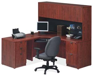 Extended corner file/file pedestal credenza with return and pedestal and hutch with wood doors
