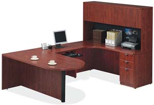 "Bullet ""U"" desk and hutch with wood doors."