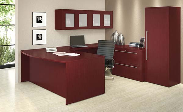 "Bow front executive lateral ""U"" desk with hanging storage with wood doors. and a wardrobe cabinet."