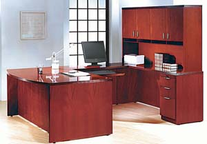 "Contemporary collection bow front ""U"" desk with wood door hutch."