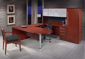 "Contemporary collection bullet table ""U"" desk with silver trimmed door hutch and storage/wardrobe cabinet."
