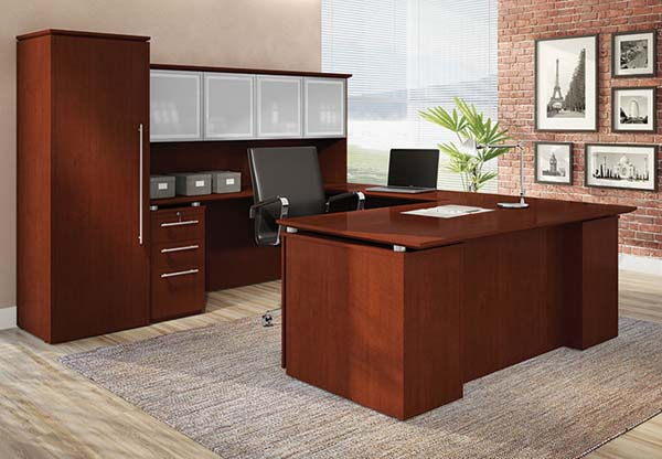 "Copacabana collection executive ""U"" workstation featuring the floating desk top, aluminum frammed smoked glass door hutch and wardrobe cabinet."