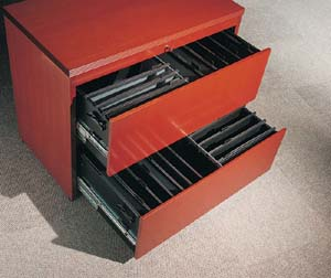 Lateral file drawer detail