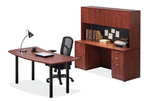 Crescent table desk, computer credenza with storage hutch with doors.
