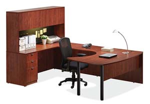 """Arc table """"U"""" desk and hutch with doors."""