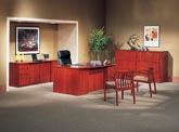 chambers contemporary veneer bow front desk, storage credenza and 3 drawer lateral files