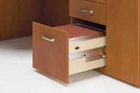 File drawers keep forms and paperwork organized and easily accessible