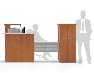 """U"" Reception station with transaction counter cabinet"
