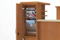 An integrated, slotted paper holder in the Personal Tower houses magazines, brochures or booklets in a handy location.