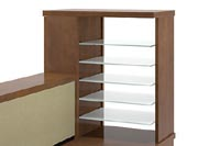 Pigeon hole organizer with white glass shelves
