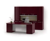 Fuse modern veneer bow front desk and credenza wall unit