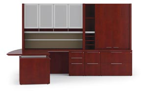 "Executive ""L"" desk with multi-file enhanced upper storage cabinet and enhanced upper bookcase hutch with Aluma doors and tackboard"