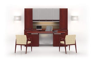 Fuse Desk and Credenza shown in Columbian Walnut with Shark edge and Shark pull in Matte Chrome