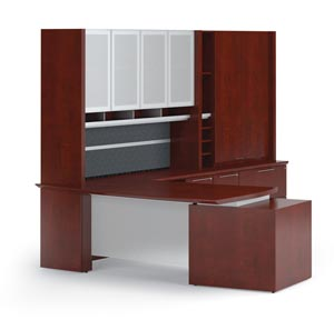 "Modern executive ""L"" desk arrangement ith extra file"
