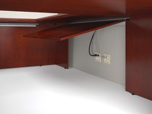hinged modesty panel allows easy access to wall outlets and wire management