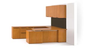 "Fuse ""U"" desk with wood doors in all positions"