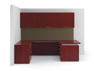 "Fuse ""U"" desk with r ectangular desktop, hanging cabinet with wood doors, tackboards and knife edge"