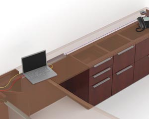 Access Behind Pedestals Fuse single pedestal desks, bridges, returns and credenzas are designed with an obstruction-free space that spans the width of the unit and from floor to beneath the worksurface