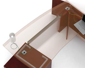 Routing Wires Through Kneespaces concealed channel incorporated into the Pivoting Modesty Panel support bracket carries wires horizontally across the kneespaces of desks, bridges, returns, credenzas and conference extensions