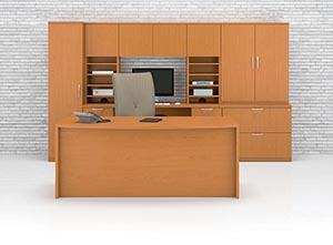 Bow front executive desk with wall unit consisting of a computer credenza, verticle pegion hole storage, overhead door storage cabinet, two drawer lateral file with storage hutch shown in Golden Cherry