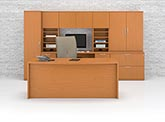 Kindle modern bow front desk with credenza wall ensomble
