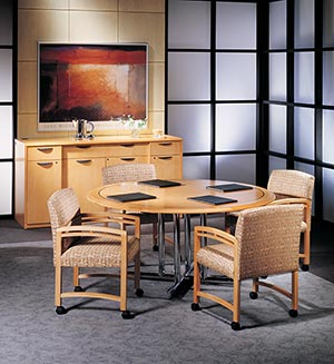 Round conference table with buffet credenza.