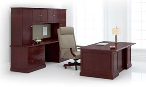 Coronado Executive Desk and Modular Storage Units shown in Traditional Cherry with TD pulls in Antique English Brass