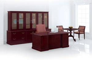 Coronado Conference Desk, Modular Storage Units and Executive Round Table shown in Mahogany on Cherry with PE pulls in Antique English Brass