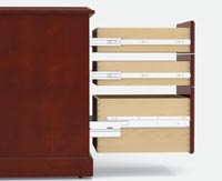 Full-extension metal ball-bearing suspensions are featured on all Coronado drawers