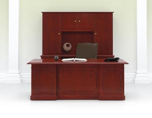 Coronado Executive Desk, Credenza and Upper Bookcase shown in Light Cherry with CL pulls in Antique English Brass