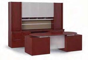 """Modular Executive Desk, 108"""" Credenza and Enhanced Upper Bookcase"""