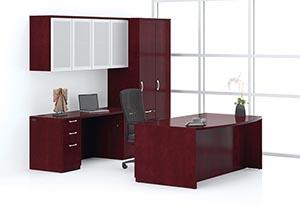 Ignite Desk and Credenza shown in Mahogany