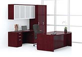 Contemporary bow front desk, credenza, storage cabinet and overhead storage with aluminum and frosted panel doors