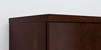 Cabinet Tops for Upper and Hanging Bookcases coordinate with desk edges for a finished look.