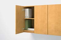 Tall Upper Bookcase interiors provide ample binder storage and cable access.
