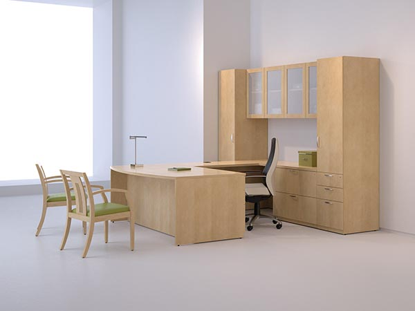 """Ignite's executive bow front """"U"""" desk with lateral file drawers, vertical pedestal storage cabinet and a wardrobe cabinet with overhead hanging frosted glass door storage."""