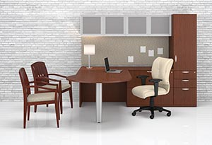 """P"" top conference ""L"" desk with pedestal storage cabinet, aluminum door storage overhead cabinet and tackboard."