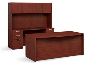 Bow top executive double pedestal desk with computer credenza with storage hutch.