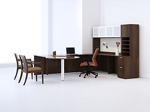 P-Top Conference Extension in U-unit shown in Columbian Walnut laminate with Soft edge and Radius pulls