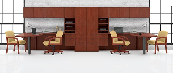 "Double ""L"" desk workstation with vertical pegion hole tower, overhead door storage and a pedestal storage cabinet."