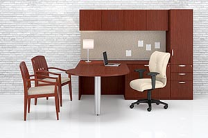 """P"" top conference ""L"" desk with pedestal storage cabinet, wood door storage overhead cabinet and tackboard"