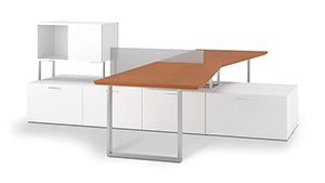 Layered 2 person station in White laminate with Angle edge and Keyhole pulls