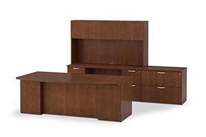 Executive Bow Top Desk, Credenza, Upper Bookcase and Lateral File