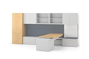 """Tall 72"""" Hanging Bookcases with Platinum laminate doors, a Personal Pedestal and Markerboard"""
