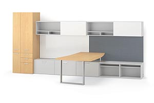 """72"""" Hanging Bookcases with White Aluma sliding doors, a Metal Leg and a Markerboard"""