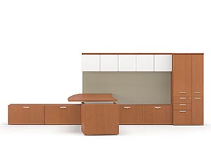 """Combo drawer credenza with """"P"""" top conference table. Shown in Light Cherry"""